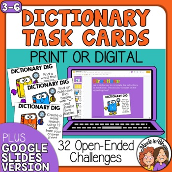 Dictionary Dig Task Cards: 30 Challenges to Practice Dicti