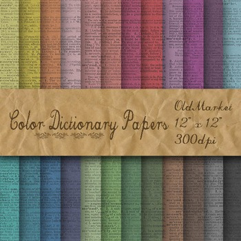 Dictionary Digital Papers - Colorful Dictionary Pages - 24
