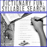 Dictionary Fun with Syllable Search - Great for Literacy Centers!