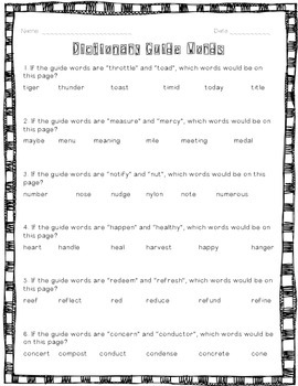 Dictionary Guide Words
