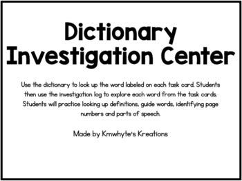 Dictionary Investigation Center - 36 Task Cards (Printer-f