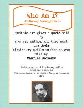 Dictionary Scavenger Hunt Riddle for Charles Dickens