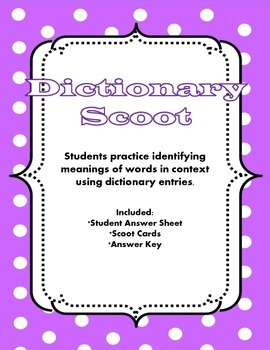 Dictionary Scoot - choosing the right definition for multi