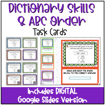 Dictionary Skills: Guide Words & ABC Order Task Cards with