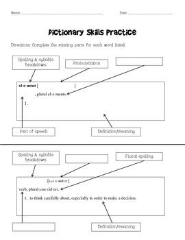 Dictionary Skills Practice Sheet