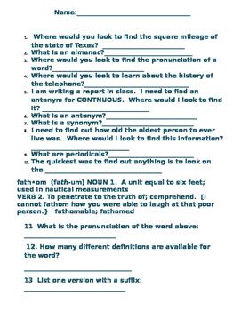 Dictionary Skills Quiz