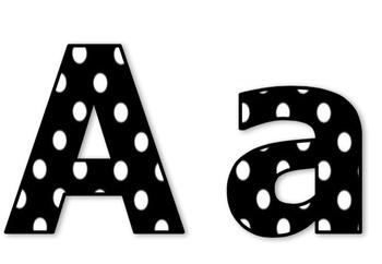 Die-Cut Letters for Bulletin Boards (White & Black Polka Dots)