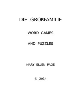 Die Grossfamilie  Word Games and  Puzzles