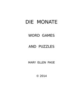 Die Monate  Word Games and Puzzles