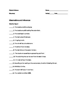 Difference Between Observation and Inference Worksheet