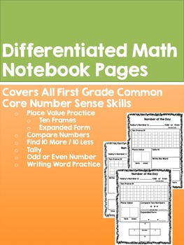 Differenciated Math Journal or Notebook Pages