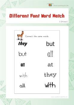 Different Font Word Match (Kindergarten)