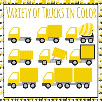 Different Types of Trucks (Color) Commercial Use Clip Art Set
