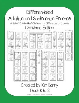 Differentiated Addition and Subtraction Practice- Christma