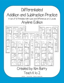 Differentiated Addition and Subtraction Practice- Ice Cream Kids