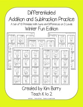 Differentiated Addition and Subtraction Practice- Winter Mouse