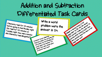 Differentiated Addition and Subtraction Task Cards