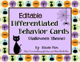 Differentiated Behavior Cards - Halloween Theme (Editable)