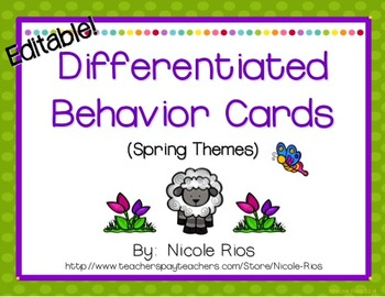 Differentiated Behavior Cards - Spring Theme (Editable)