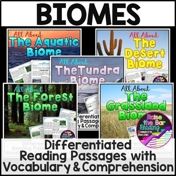 Differentiated Biomes Reading Passages Bundle with Vocabul