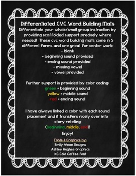 Differentiated CVC Word Building Mats