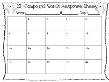 Differentiated Compound Words Response Sheet
