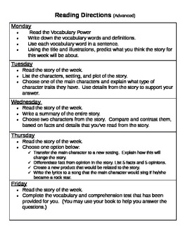 Differentiated Daily Activities for 3rd Grade Reading Stories