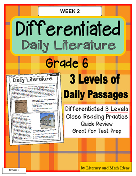 Differentiated Daily Literature Practice Grade 6 (Week 2)