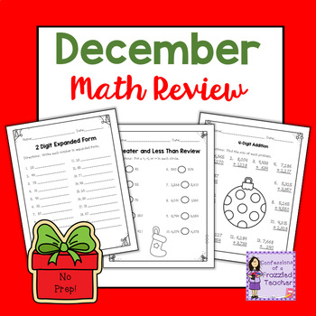 Differentiated December No Prep Math Printables