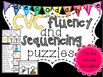 Differentiated Decodable CVC Fluency and Sequencing Passag