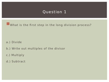 Differentiated Division Multiple Choice Quiz PPT