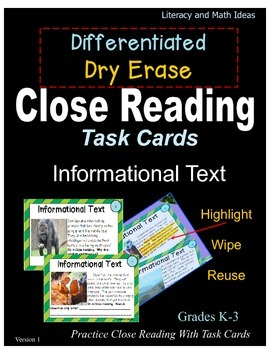 Differentiated Dry Erase Close Reading Task Cards Informat