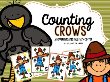 Differentiated Fall Counting Math Center {Scarecrows and Crows}