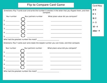 Differentiated Flip to Compare Card Game
