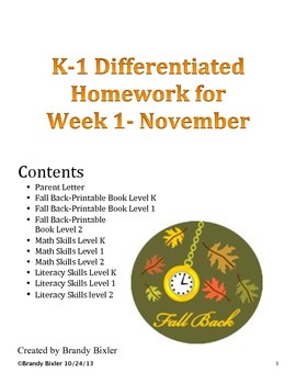 Differentiated Homework for November Week 1