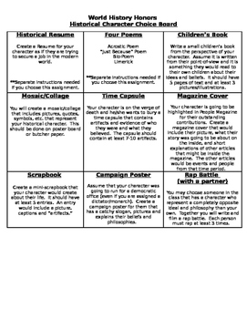 Differentiated Instruction: World History Choice Board