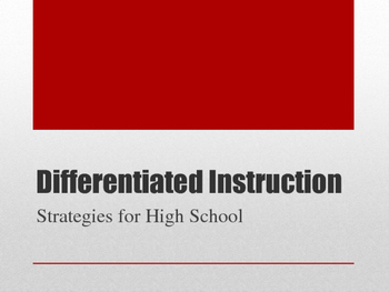 PPT on Differentiated Instruction for High School
