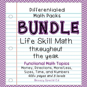 Differentiated Life Skill Math Pack BUNDLE for the YEAR {S