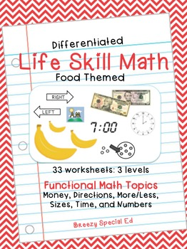 Differentiated Life Skill Math Pack: Food (special education)