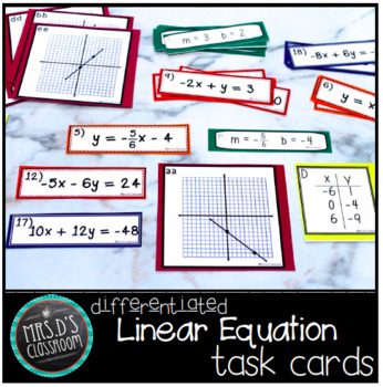 Differentiated Linear Equation task cards