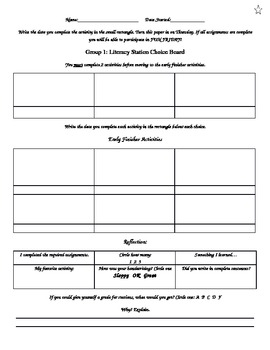 Differentiated Literacy Choice Board Template (editable)