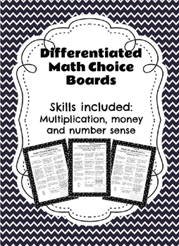 Differentiated Math Choice Board (Multiplication, Money, a