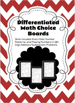 Differentiated Math Choice Board (Number Sense, Addition,