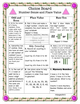 Differentiated Math Choice Board Place Value and Number Sense