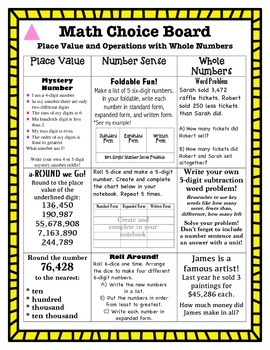 Differentiated Math Choice Board Place Value and Operation