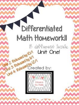 Differentiated Math Homework Unit 1
