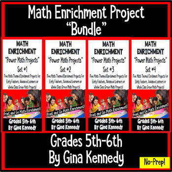 5th and 6th Grade Math Enrichment Projects Bundle, All Fou