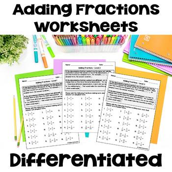 Adding Fractions Worksheets (3 Levels)