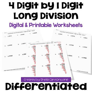 Long Division Worksheets: 4 Digit by 1 Digit (3 Levels)