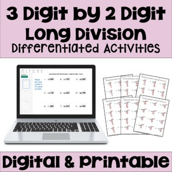 Long Division Worksheets: 3 Digit by 2 Digit (3 Levels)
